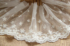 "2 Yards Lace Trim White Tulle Snowflake Cotton Embroidery Fabric 3.54"" width"
