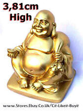 Happy Laughing Buddha Gold Statue Ornament Chinese Japanese Buddhism Health 3.81