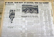 1945 headline newspaper BYRON NELSON called the BABE RUTH of PROFESSIONAL GOLF