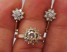 14K YG SET OF DIAMOND CLUSTER EARRING & RING SIZE 6  1.00 TCW  G68147  6.80 gram