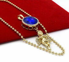 "Mens Gold Plated Simulated Blue Round Ruby Angel Pendant Hip-Hop 27"" Ball Chain"