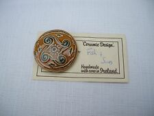 vintage handmade  ceramic brooch from Ireland  fish & sun