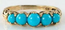 DIVINE 9 CT VINTAGE INSP TURQUOISE HALF ETERNITY RING FREE RESIZE