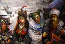 CIRCUS FREAKS IN OLD RUSSIA Ari Roussimoff Painting INTERNATIONAL ARTIST