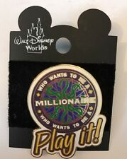 WDW 2001 Disney MGM Studios WHO WANTS TO BE A MILLIONAIRE PLAY IT Pin New Card