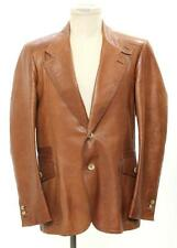 Gucci Men's Brown Leather Two Button Jacket Size 52