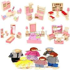 6 Set Rooms + 6 Dolls Wooden Furniture Doll House Family Miniature Kids Children