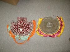 2 Antique Hand Embroidered Metallic Silver Sequin Bullion Embroidery French Fan