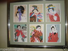 JAPANESE COSTUMES -    6  REPRODUCTION  MINIATURE  PICTURES  in  FRAMES