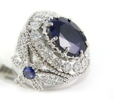Wide Oval Blue Sapphire Ring w/Dragonfly Diamond Accents 14k White Gold 12.42Ct