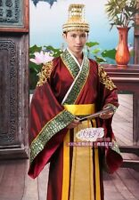Red Chinese Traditional Costume Emperor Han Clothing Prince Show Cosplay Suit