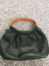 Fossil Black Pebble Leather Satchel Hand Bag Purse Braided Handle  Strap Small