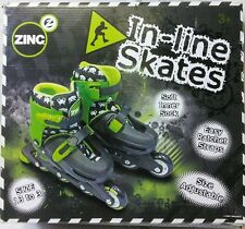 Zinc In-line Skates Adjustable Size 13-3 Black Green Retro Alien Graphics Design