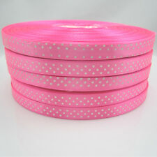 New hot 50 Yards Charm 3/8 9mm Polka Dot Ribbon Satin Craft Supplies Pink Y1