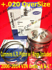 Dodge CUMMINS 6.7 6.7L PISTON +.020 Oversize w/Rings 2006-2014 MAHLE Matched Set