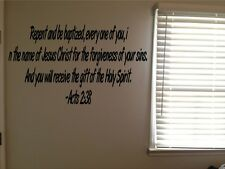 Acts 2:38 Bible Verse Christian Baptism Saved Vinyl Wall Quote Decal Sticker