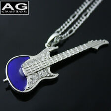 "Mini blue electric guitar cubic pendant with 28"" chain necklace"