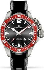 NEW HAMILTON FROGMAN 46MM TITANIUM BLACK DIAL RED BEZEL H77805335
