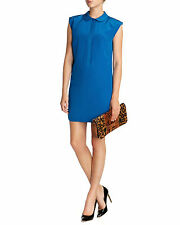 NWT $248 Ted Baker Pintuck Tunic Silk Cap Sleeve Blue Collared Short Dress 2 S