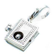 Sterling 925 Silver Bookworm Opening Book Clip On Pendant Charm by Welded Bliss