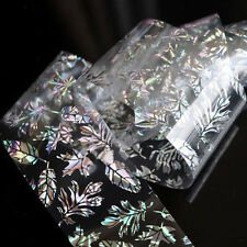 Holographic Nail Art Feather Leaves Transfer Stickers Foils Polish Decal Beauty