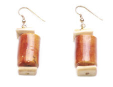 EXOTIC AMBER & MARBLE STONE DESIGN EARRING SET, PREHISTORIC THEME (ZX57)