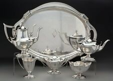 Gorham Sterling Silver Coffee & Tea Set With Tray - Plymouth Pattern