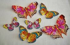 BRIGHT COLORFUL BUTTERFLIES  IRON ON FABRIC APPLIQUES  #108 SET OF 6