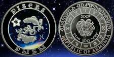 2007 Armenia Large Silver Color Proof 100 Dram/cubicZirconia/Zodiac-Pisces(Fish)