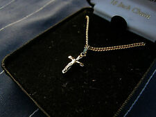 "New Sterling .925 Silver Cross Plated in Gold, By Cross Gifts W/ 18"" chain Lot P"