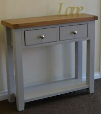 Dorset French Grey Painted Oak & Pine 2 Drawer Console Table