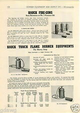1943 PAPER AD Hauck Kerosene Fire Gun Furnace Oil Torch Flame Burner