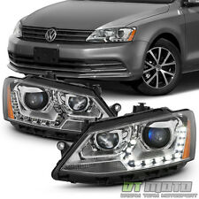 2011-2016 VW Jetta Sedan Halogen LED DRL Projector Headlights 11-16 Headlamps