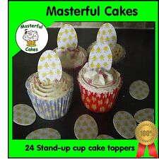 24 Pre-Cut Stand-Up Easter Egg Design Edible Rice paper Cup Cake Toppers