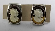 Rare Vintage Greek Soldier Trojan Head Cameo Men's Cuff Link Pair Jewelry NOS