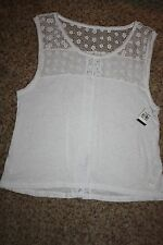 NWT Abercrombie & Fitch M White Tank Knit Upper Solid Lower Back Detail Slit