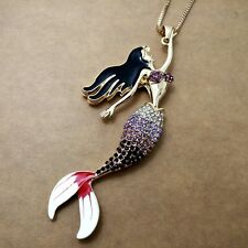 Fashion gold-plated Mermaid pendant Crystal Long Necklace Sweater chain KK155