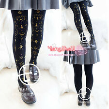 Japanese Harajuku Vintage Gothic Lolita Star Print Tights Stocking Pantyhose