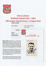 HARRY LATHAM SHEFFIELD UNITED 1937-1953 RARE ORIGINAL HAND SIGNED ANNUAL CUTTING
