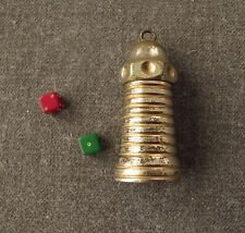 VINTAGE SILVER PLATED MINIATURE LIGHTHOUSE SHAPED SCREW DICE SHAKER DICE PENDANT