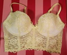 NEW VICTORIA'S SECRET YELLOW LACE BRALETTE NEW 34C BRA 34 C LIGHTLY PADDED PUSH