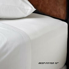1 NEW QUEEN SIZE WHITE HOTEL FITTED SHEET COTTON BAY HOTEL 60x80x12 DEEP POCKET