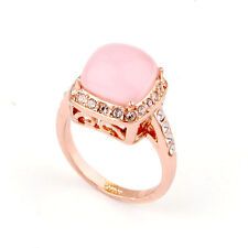 18K ROSE GOLD PLATED GENUINE CLEAR AUSTRIAN CRYSTAL AND PINK CAT-EYE RING