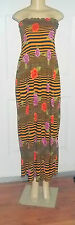 GOLD ROSES FLORAL STRIPE SUMMER ELASTIC DRESS MAXI LONG STRAPLESS ELASTIC TOP 1X