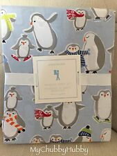 NWT Pottery Barn Kids ~BLUE PENGUIN~ TWIN *FLANNEL* Sheets ~WINTER 2016~