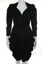 Balenciaga Paris Black Long Sleeve V-Neck Pleated Asymmetrical Bottom Dress Size