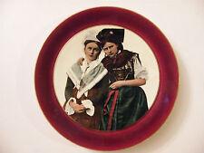 Assiette Patriotique Alsace Lorraine en Sarreguemines Marly Rouge