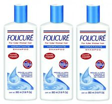 3x FOLICURE For Fuller Thicker Hair HIDRATANTE  Shampoo Reduces FALL & DRYNESS