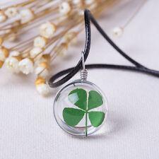 Four Leaf Clover Crystal Ball Lucky Pendant Necklace, Luck, Gift Idea