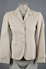 BCBG Max Azria womans jacket size 4 tan white stripes button front single breast